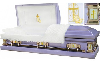 8457 -Light Purple Praying Hands Casket 18gaWhite Velvet