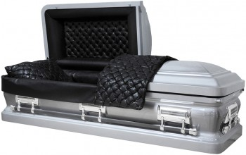 8460-SPECIAL - Silver Casket, 18ga Black Smooth Leather-Look, Silver Hardware