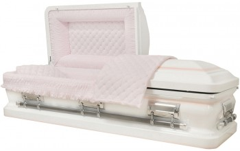 8467 - 18 Gauge Steel Casket White finish - Quilted Velvet - Silver Hardware