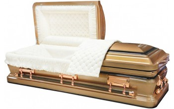 8473 - Light Brown Casket W/ Black AccentsLight Beige Quilted Velvet - Copper Hardware