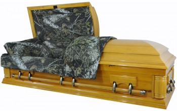 8738 - Camouflage Casket - Solid Wood Pine- Hunter's Casket High Gloss