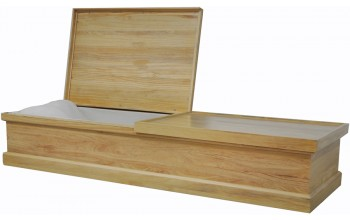 8769 - Cremation Casket, Solid Pine Box  Pillow, Almond Velvet
