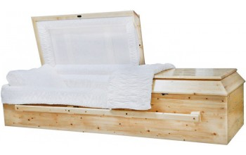 8794 - Solid Pine Wood Casket White Crepe Interior Lining, Some Metal