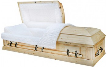 8795 - Solid Pine Wood Casket White Crepe Interior Lining