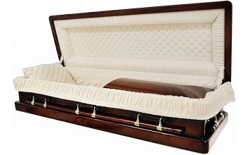 8887-FC- Full Couch w/Foot Panel Solid Mahogany Casket Almond Velvet Interior