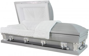 "8928Xss-29 - Stainless Steel Casket, Silver Finish, White Velvet, Swing Bar, 28"" inside / 28 7/8 out"