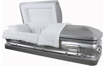 8949 - Stainless Steel Casket Two Tone Brushed Natural Steel