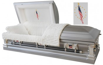 8947 - Military Stainless Steel Casket Military Flags on Handles