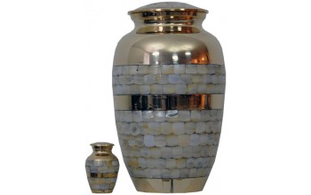 92A - Brass Urn Velvet Box plus 1 Keepsake Gold with Mother of Pearl