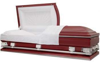 9344-29 - Red Burgundy Casket w/ Silver AccentsWhite Crepe Interior, 28 7/8 inside / 29 1/4 outside