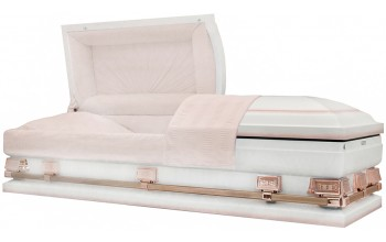 9345-29 - White w/ Pink AccentLight Pink Crepe Interior28 7/8 inside / 29 1/4 outside