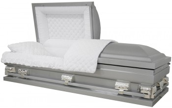 "9399-29  - Silver Casket with NO Accent Paint Silver Hardware, White Velvet 27 1/2"" inside/ 28 3/4"" out"